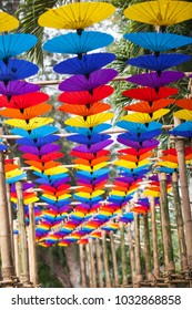 Colorful umbrellas background. Street decoration in Chiangmai flower festival 2018.