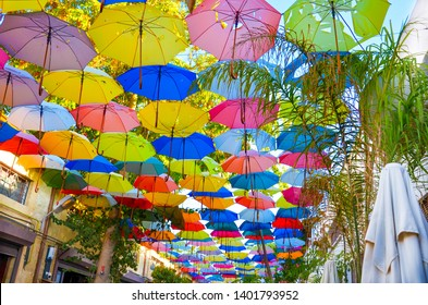 Colorful umbrellas decorating the top of the street in Cypriot Nicosia. The umbrella serves also as a shade and protection against the sunshine. Among the umbrellas there are green tree branches