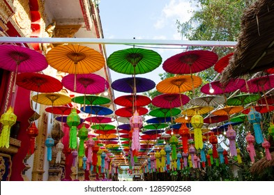 colorful umbrellas in Nan Province,  Northern Thailand