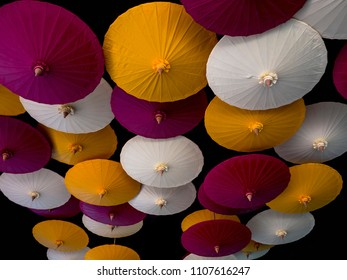 colorful umbrellas on background