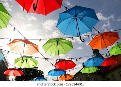 Colorful umbrellas on the street of Zagreb, Croatia. Selective focus.