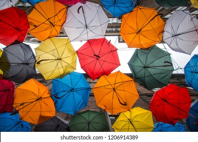 Colorful umbrellas on the street/Karakoy,Istanbul,Turkey