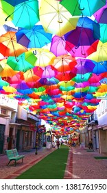 Colorful umbrellas over street in Agueda, Portugal