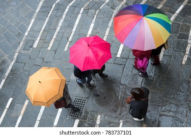 Colorful umbrellas seen from above