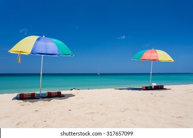 Colorful umbrellas at Surin beach