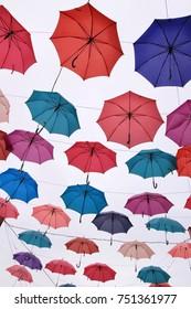 Colorful Umbrellas White background