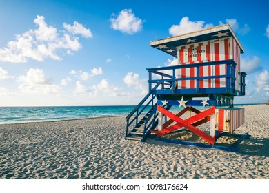 Colorful US Flag stars and stripes lifeguard tower on Miami Beach, Florida