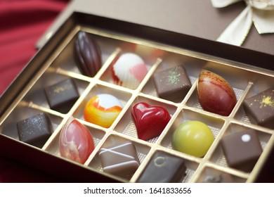 Colorful Valentine bonbon chocolate in box