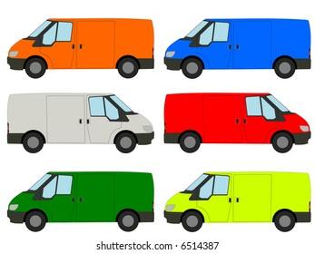 colorful vans illustration side view of vehicle JPG