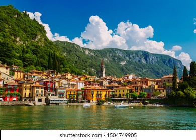 Colorful Varenna town seen from the Lake Como, Lombardy region, Italy