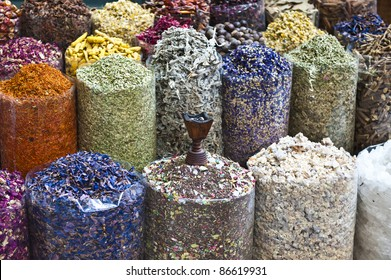 A colorful variety of dry incense for sale at the Dubai traditional market.