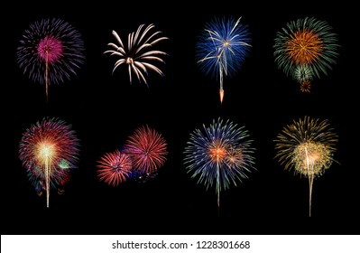 Colorful variety fireworks isolated on black background