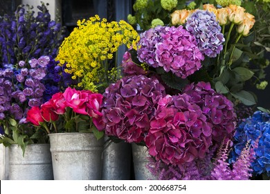 Colorful variety of flowers sold in the market in London.