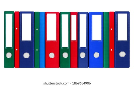 Colorful various file folders isolated on white