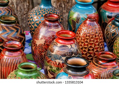 Colorful vases at the local market in Granada, Nicaragua