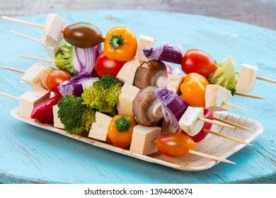 Colorful vegan or vegetarian vegetable skewers with Tofu