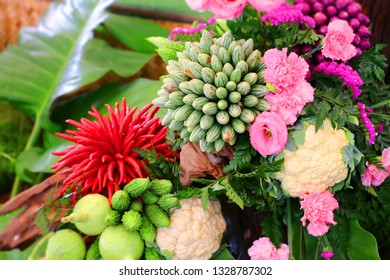 colorful vegetable bouquet for decorating houses and ceremonies. Made from red chili, eggplant, cauliflower, hatch vegetable and flowers