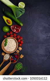 Colorful Vegetables, Fruits and Berries - Healthy Food, Diet, Detox, Clean Eating or Vegetarian Concept. Food background. View from above, top, flat lay with room for text
