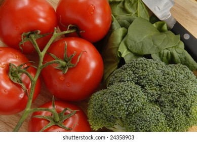 Colorful Vegetables on Cutting Board