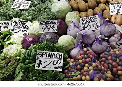 Colorful vegetables on display at an outdoor market in Seattle.