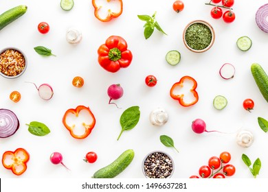 colorful vegetables pattern for cooking design on white background top view
