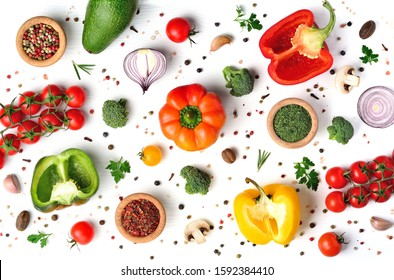 Colorful vegetables pattern for cooking design on white background. Healthy eating concept. Top view.