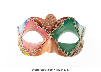 Colorful Venetian carnival mask isolated on white background, front view