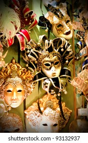 Colorful Venetian carnival masks for sale.