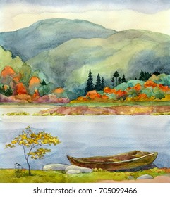Colorful vibrant hand drawn watercolour sketch drawing on paper backdrop with space for text on light gloaming heaven. Quiet retro romantic daybreak scene. Yellow aspens on bank of calm bay beach view