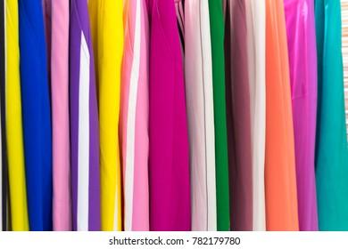 Colorful Vietnamese traditional long dress Ao Dai closeup
