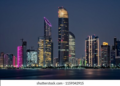 Colorful view of Abu Dhabi, the capital of the United Arab Emirates.