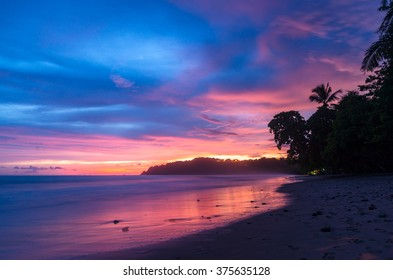 Colorful view from the beach during the sunset in Costa Rica