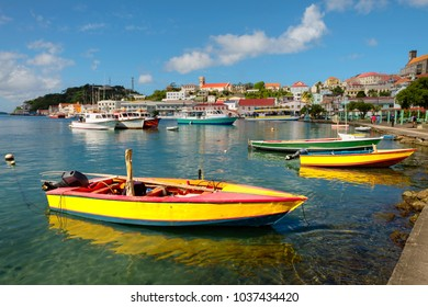 colorful view at Carenaga harbour of st. George's- capitol of Grenada