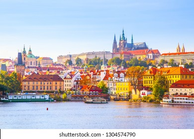 Colorful view of Castle District (Hradcany) in Prague, Czech Republic