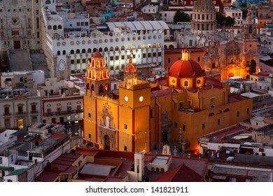 Colorful view of the city of Guanajuato at night, Mexico.
