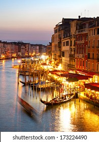 Colorful view Grand canale in Venice at twilight.