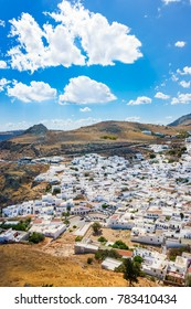 Colorful view of Lindos village and its traditional white architecture (Rhodes, Greece)