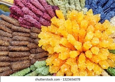 Colorful view of rock candies. Traditional Persian crystallized sugar in confectionery shop of Isfahan, Iran. Nabat (misri) is a part of the tea culture of the Middle East, India and Central Asia.