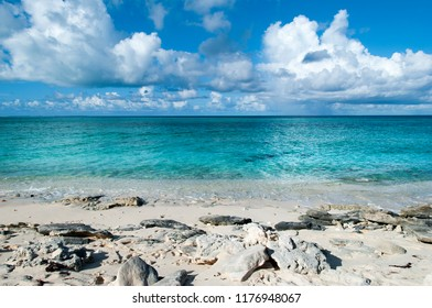 The colorful view of rocky beach on Grand Turk island (Turks and Caicos Islands).