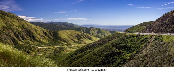 Colorful view of the San Bernardino Valley from the San Bernardino Mountains on a sunny day, Rim of the World Scenic Byway, San Bernardino County, California