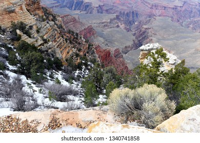 Colorful view of the South Rim of Grand Canyon after snow fall