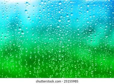 Colorful view through a rain splashed window