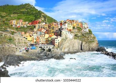 Colorful village Manarola in Cinque Terre National Park, Liguria, Italy