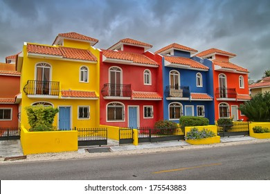 Colorful villas in a beach resort in the Dominican Republic