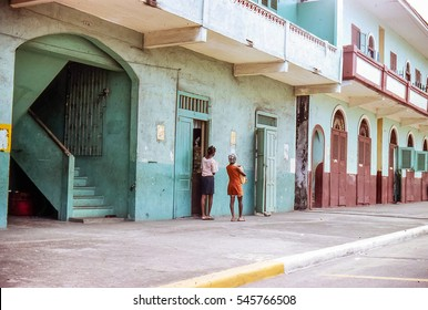 Colorful vintage image of streets in less affluent area of Panama City Panama