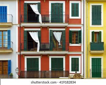 colorful vintage mediterranean urban house fronts in Palma, Majorca, Balearic Islands, Spain