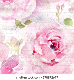 Colorful vintage pattern with floral ornament useful as background. Rose Watercolor Pattern with unreadable text.