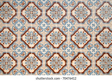 Colorful vintage spanish style ceramic tiles wall decoration.