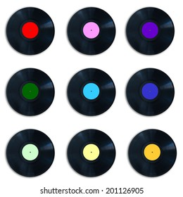 Colorful vinyl records collection, isolated on white background