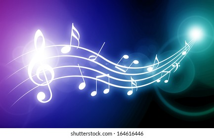 colorful vivid background with some music notes on it